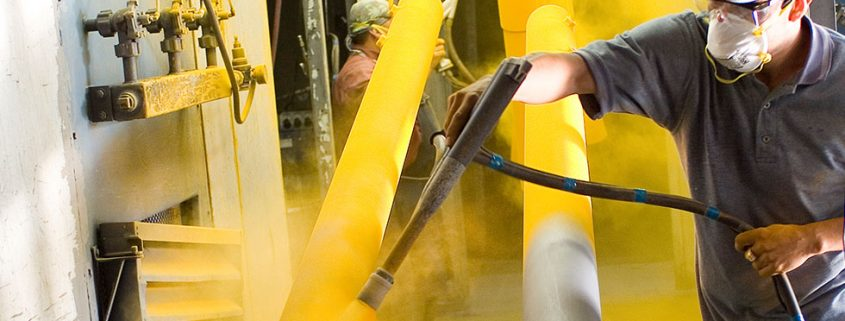 applying yellow powder coating for steel