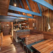 Intumescent paint for wood applied in a restaurant interior