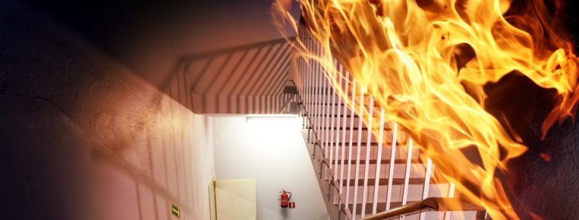 fire retardant paint for meatl applied in a stair case