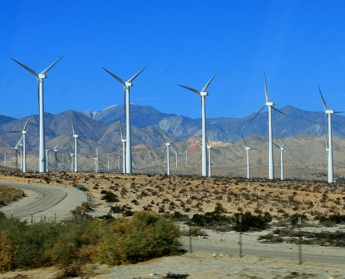 Wind turbine coating in wind farm california