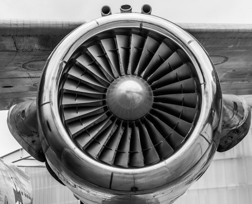 heat resistant coating on an airplane turbine