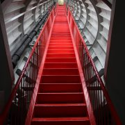 red polyurethane paint on metal stairs