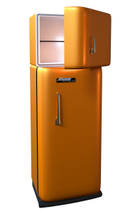 powder coating appliances done on an orange fridge