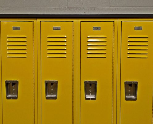 yellow powder coating furniture applied on lockers