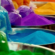 Powder coating powder comes in a range of colors and effects.